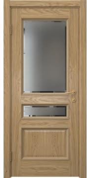 Межкомнатная дверь SK015 (натуральный шпон дуба / стекло с фацетом) — 5940