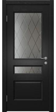 Межкомнатная дверь SK015 (шпон ясень черный / сатинат ромб) — 5960