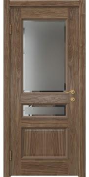 Межкомнатная дверь SK015 (шпон американский орех / стекло с фацетом) — 5952