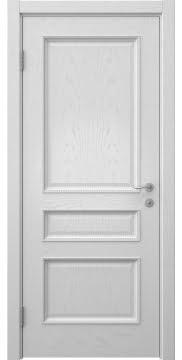 Межкомнатная дверь с каркасом из массива сосны и МДФ, SK015 (шпон светлый ясень, глухая)