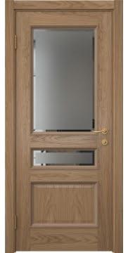 Межкомнатная дверь SK015 (шпон дуб светлый / стекло с фацетом) — 5943