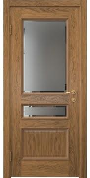 Межкомнатная дверь SK015 (шпон дуб античный с патиной / стекло с фацетом) — 5946