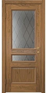 Межкомнатная дверь SK015 (шпон дуб античный с патиной / сатинат ромб) — 5945