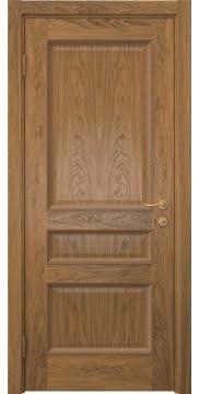 Шпонированная ульяновская дверь SK015 (шпон дуб античный с патиной, глухая)