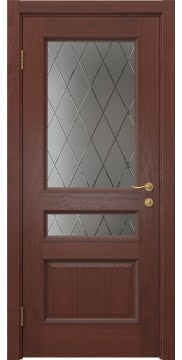 Межкомнатная дверь, SK015 (шпон красное дерево, стекло с гравировкой)