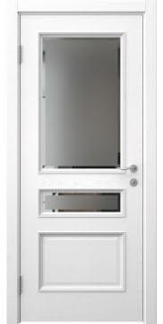 Ульяновская шпонированная дверь SK015 (шпон ясень белый, стекло с фацетом)