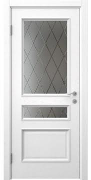 Межкомнатная дверь, SK015 (шпон ясень белый, стекло с гравировкой)