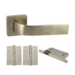Фурнитура для дверей. V01D-AL-B4 (Комплект матовый никель: ручка алюминиевая, защелка, 2 петли)