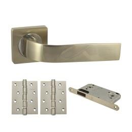 Фурнитура для дверей. V01D-B4 (Комплект матовый никель: дверная ручка ЦАМ, защелка, 2 петли)