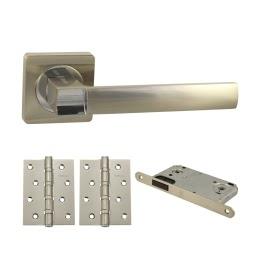 Фурнитура для дверей. V02D-B4 (Комплект матовый никель: дверная ручка ЦАМ, защелка, 2 петли)