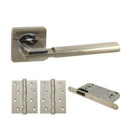 Дверная фурнитура. V03D-B4 (Комплект матовый никель: дверная ручка ЦАМ, защелка, 2 петли)
