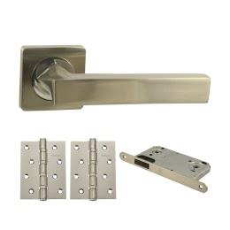 Дверная фурнитура. V04D-B4 (Комплект матовый никель: дверная ручка ЦАМ, защелка, 2 петли)