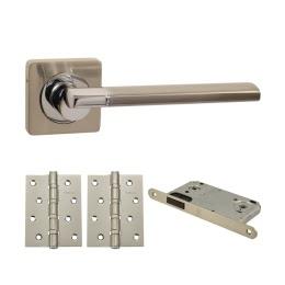 Фурнитура для дверей. V06D-AL-B4 (Комплект матовый никель: ручка алюминиевая, защелка, 2 петли)