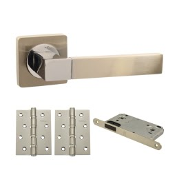 Дверная фурнитура. V07D-AL-B4 (Комплект матовый никель: ручка алюминиевая, защелка, 2 петли)