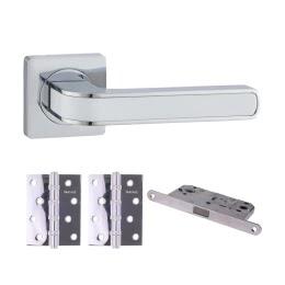 Фурнитура для дверей. V09CP-B4 (Комплект хром: дверная ручка ЦАМ, защелка, 2 петли)