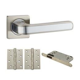 Фурнитура для дверей. V09D-B4 (Комплект матовый никель: дверная ручка ЦАМ, защелка, 2 петли)