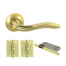 Фурнитура для дверей. V14C-B4 (Комплект матовое золото: дверная ручка ЦАМ, защелка, 2 петли)