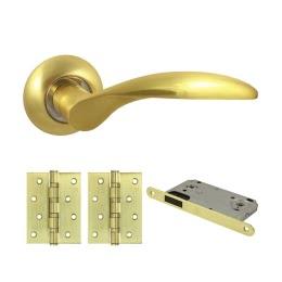 Фурнитура для дверей. V20C-AL-B4 (Комплект матовое золото: ручка алюминиевая, защелка, 2 петли)