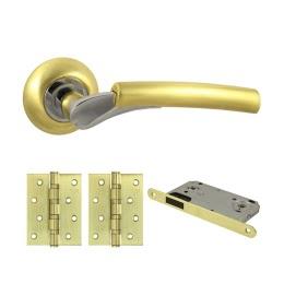 Фурнитура для дверей. V21C-B4 (Комплект матовое золото: дверная ручка ЦАМ, защелка, 2 петли)