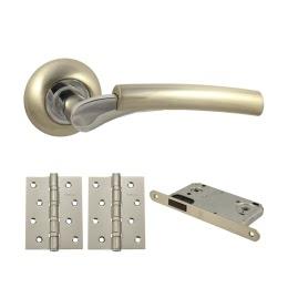 Фурнитура для дверей. V21D-B4 (Комплект матовый никель: дверная ручка ЦАМ, защелка, 2 петли)