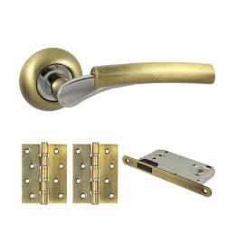 Фурнитура для дверей. V21Q-B4 (Комплект бронза: дверная ручка ЦАМ, защелка, 2 петли)