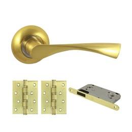 Дверная фурнитура. V23C-B4 (Комплект матовое золото: дверная ручка ЦАМ, защелка, 2 петли)