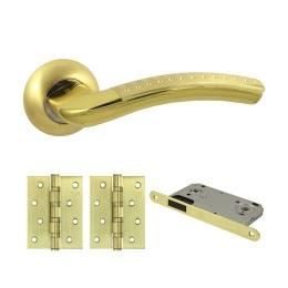 Фурнитура для дверей. V26C-B4 (Комплект матовое золото: дверная ручка ЦАМ, защелка, 2 петли)