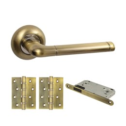 Дверная фурнитура. V28Q-B4 (Комплект бронза: дверная ручка ЦАМ, защелка, 2 петли)