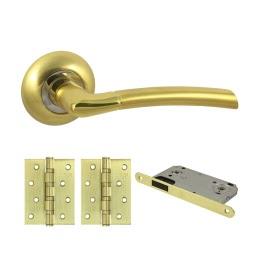 Фурнитура для дверей. V40C-B4 (Комплект матовое золото: дверная ручка ЦАМ, защелка, 2 петли)