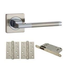 Фурнитура для дверей. V53D-AL-B4 (Комплект матовый никель: ручка алюминиевая, защелка, 2 петли)