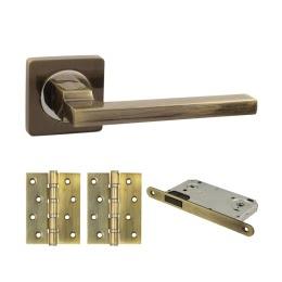 Фурнитура для дверей. V53Q-B4 (Комплект бронза: дверная ручка ЦАМ, защелка, 2 петли)