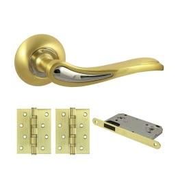 Фурнитура для дверей. V64C-AL-B4 (Комплект матовое золото: ручка алюминиевая, защелка, 2 петли)