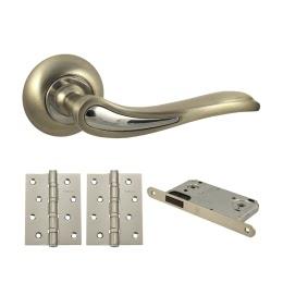 Дверная фурнитура. V64D-B4 (Комплект матовый никель: дверная ручка ЦАМ, защелка, 2 петли)