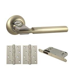 Фурнитура для дверей. V75D-B4 (Комплект матовый никель: дверная ручка ЦАМ, защелка, 2 петли)