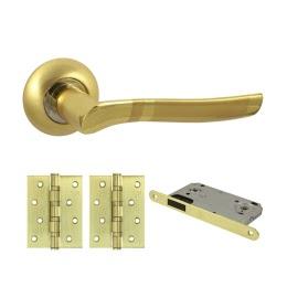 Фурнитура для дверей. V77C-B4 (Комплект матовое золото: дверная ручка ЦАМ, защелка, 2 петли)