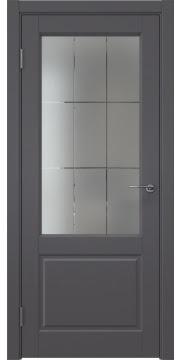Межкомнатная дверь ZK011 (эмаль графит, стекло с гравировкой) — 7009