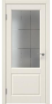 Межкомнатная дверь ZK011 (эмаль слоновая кость, стекло с гравировкой) — 7011