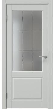 Межкомнатная дверь, ZK011 (эмаль светло-серая, стекло с гравировкой)