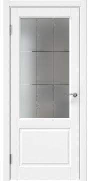 Дверь в классическом стиле, каркас из массива сосны, ZK011 (эмаль белая, стекло с гравировкой)