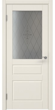 Межкомнатная дверь, ZK013 (эмаль слоновая кость, стекло с узором)