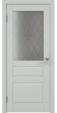 Межкомнатная дверь ZK013 (эмаль светло-серая, стекло с узором) — 7039
