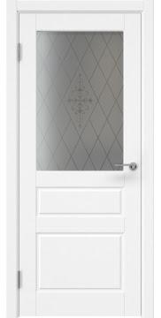 Межкомнатная дверь, ZK013 (эмаль белая, стекло с узором)