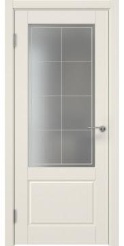 Межкомнатная дверь, ZK014 (эмаль слоновая кость, матовое стекло)