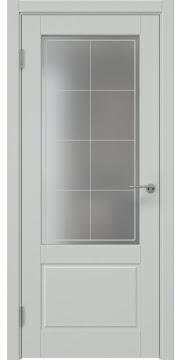 Дверь в классическом стиле, каркас из массива сосны и МДФ, ZK014 (эмаль светло-серая, матовое стекло)