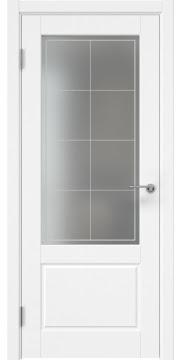 Межкомнатная дверь, каркас: массив сосны и МДФ, ZK014 (эмаль белая, матовое стекло)
