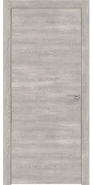 Межкомнатная дверь, ZM001 (экошпон серый дуб патина, глухая, алюминиевая кромка)