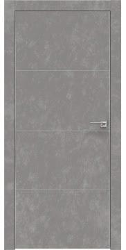 Межкомнатная дверь, ZM002 (экошпон бетон, глухая, алюминиевая кромка)