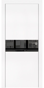 Межкомнатная дверь, ZM003 (экошпон белый, зеркало тонированное, алюминиевая кромка)