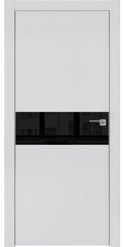 Межкомнатная дверь, ZM003 (экошпон светло-серый, лакобель черный, алюминиевая кромка)