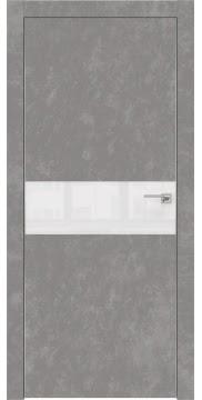 Межкомнатная дверь ZM003 (экошпон «бетон» / лакобель белый) — 0836